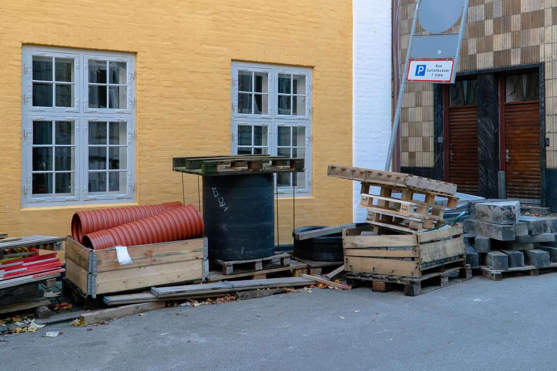 materialer fra renoveret kloak