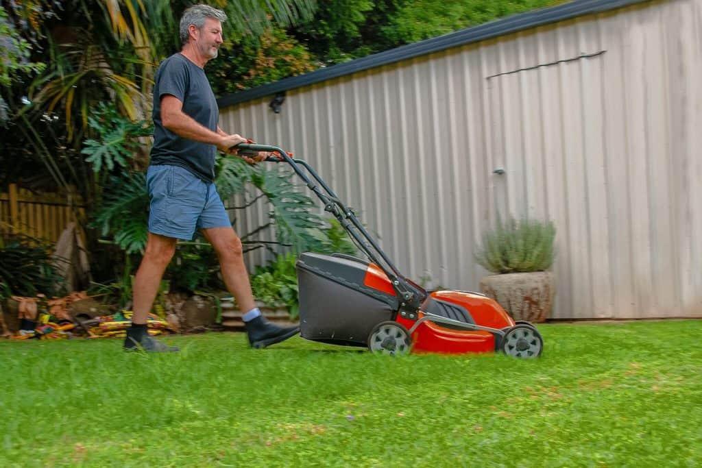 haveservice udføres af mand der slår græs